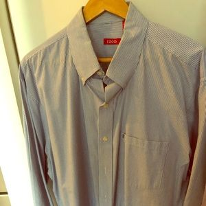 IZOD Striped Blue Shirt 17 1/2 Collar 32-33 inches
